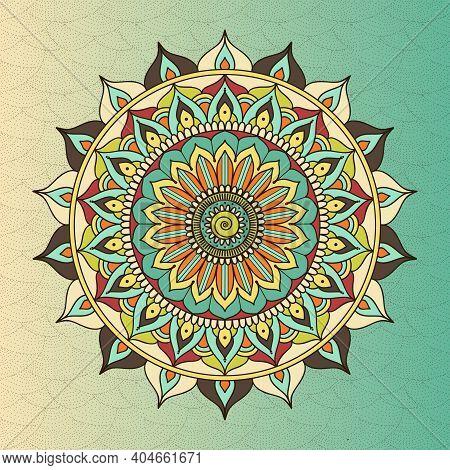Vector Ethnic Oriental Circle Mandala. Sacred Symbol Buddhism, Meditation Flower, Decoration Ethnic,