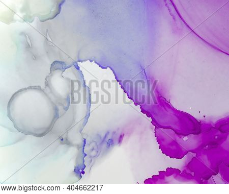 Ethereal Art Texture. Liquid Ink Wash Background. Lilac Abstract Stains Splash. Sophisticated Flow M