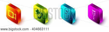 Set Isometric Medical Symbol Of The Emergency, Emergency Phone Call To Hospital, Crutch Or Crutches