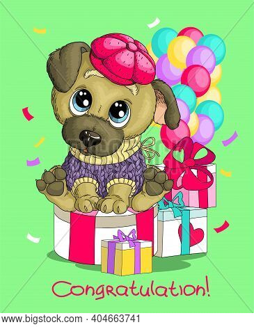 Vector Humorous Birthday Illustration. A Cute Funny Happy Dog Sits In A Hat With Gifts And Balloons.