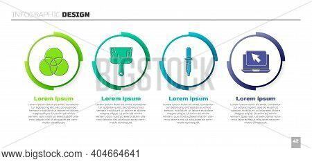 Set Rgb And Cmyk Color Mixing, Paint Brush, Pipette And Laptop And Cursor. Business Infographic Temp