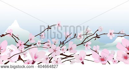 Delicate Pink Fresh Spring Japanese Flowering Cherry Blossom In A Horizontal Pattern With A Backdrop