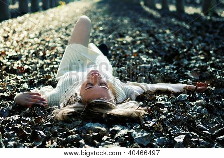 Beautiful Blonde Girl Lying On Leaves In A Forest Of Poplars
