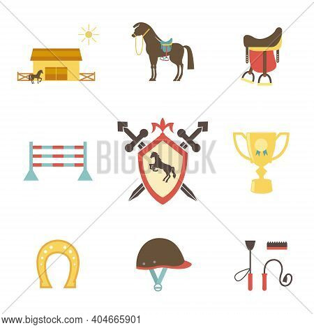 Horse And Equestrian Icons In Flat Style With A Horse Or Pony In Profile  Stables  Paddock  Riding H
