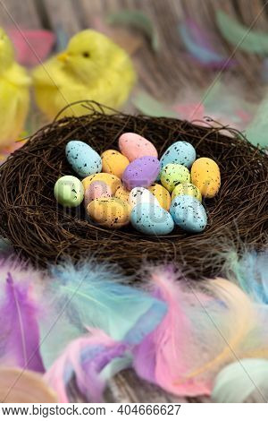 Easter Eggs In A Bird's Nest Pastel Colores, Easter, Spring, Nature Concept Background On The Backgr