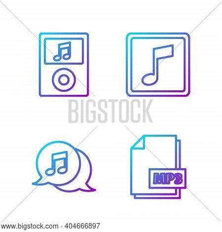 Set Line Mp3 File Document, Musical Note In Speech Bubble, Music Player And Music Note, Tone. Gradie
