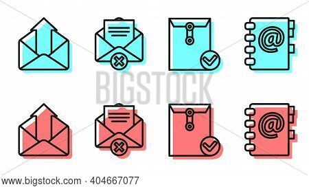 Set Line Envelope And Check Mark, Outgoing Mail, Delete Envelope And Address Book Icon. Vector