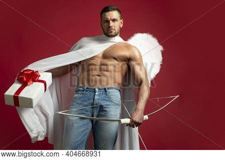 Handsome Man Angel. Valentines Day. Sexy Athlete Guy With Angels Wings. Cupid. Amour. February 14. A