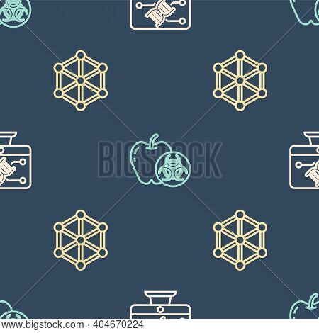 Set Line Genetic Engineering Modification, Gmo And Genetically Modified Apple On Seamless Pattern. V