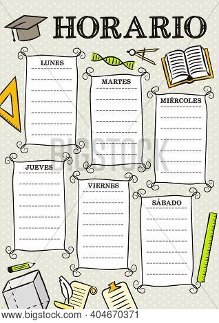 Spanish Vintage Template Of A School Schedule For 6 Days Of The Week For Students. Blank For A List