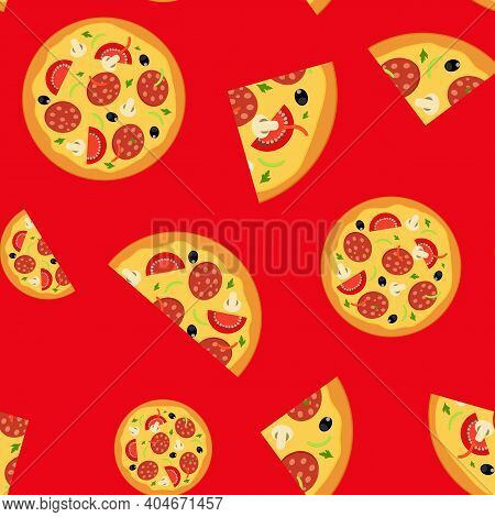 Pizza Food Seamless Pattern Background. Vector Illustration Eps10