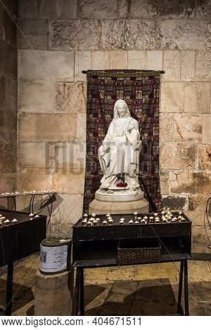 Jerusalem, Israel, January 30, 2020: Fragment Of The Interior Of St. Anne's Church Next To Pool Beth