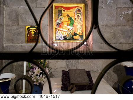 Jerusalem, Israel, January 29, 2020: Bethesda At St. Anne Church Jerusalem, Israel. Fragment Of The