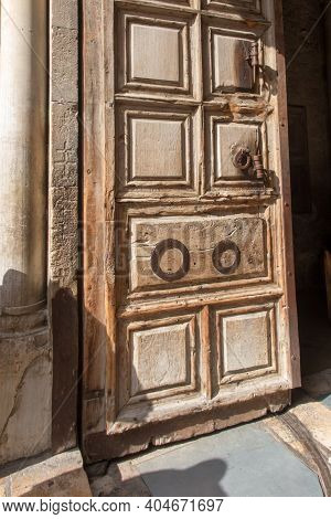 Main Door At The Church Of Holy Sepulchre. This Is A Church In The Christian Quarter Of The Old City