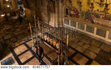 Jerusalem, Israel - January 29, 2020: Church Of The Holy Sepulchre, The Stone Of Anointing, Where Je