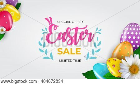 Easter Sale Poster Template With 3D Realistic Easter Eggs And Paint. Template For Advertising, Poste