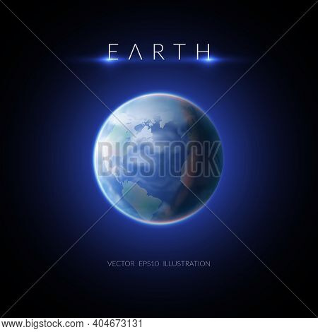 Earth Image With Description On Dark Background Flat Vector Illustration