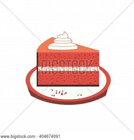 Homemade Red Velvet Cheesecake Flat Color Vector Icon. Sweet Dessert Slice Cute Cartoon Design Eleme