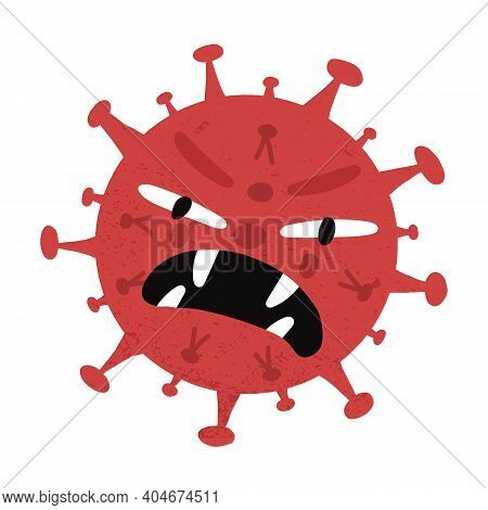 Monster Or Vampire Virus Character Angrily Grins And Attacks. Hand-drawn Cartoon Vector Isolated Ill