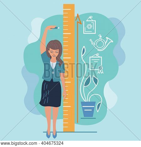 Girl Measures Height Illustration Personal Growth, Female Ambition