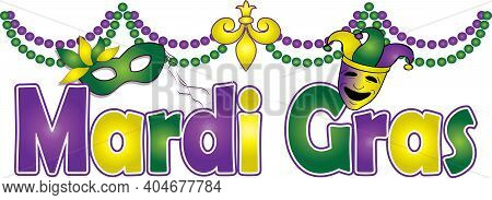 Fat Tuesday Mardi Gras February 2021  Banner Green, Purple, And Gold