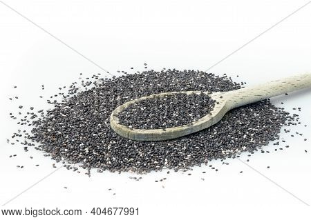 Chia On White Background. Chia Seeds In Wooden Spoon Isolated With White Background.