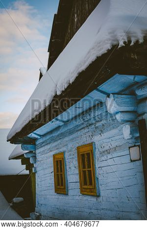 Log Cabin House In Vlkolinec, Traditional Settlement Village In The Mountains.