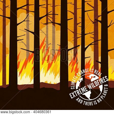Extreme Forest Wildfire With High Flames And Burning Trees. Climate Change Global Warming Series Wit