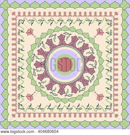 Decorative Colorful Ornament Background, Tribal Ethnic Mandala Decor. Bandana Shawl, Tablecloth Fabr