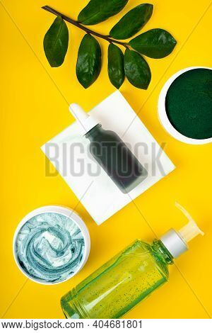 Green Spirulina Diy Facial Cleansing Mask And Ingredients. Concept Stay Home Treat Yourself. Spa, Be