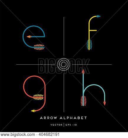 Modern Minimalist Font Alphabet Shaped Like Archery Arrows. Letters E,f,g,h. Vector Illustration.