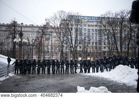 Moscow, Russia - 23 January, 2021, Mass Protests In Russia Call For Alexei Navalny's Release