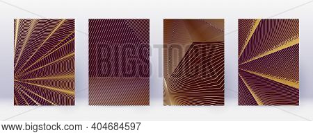 Art Business Card. Abstract Lines Modern Brochure Template. Gold Vibrant Gradients Geometry On Bordo