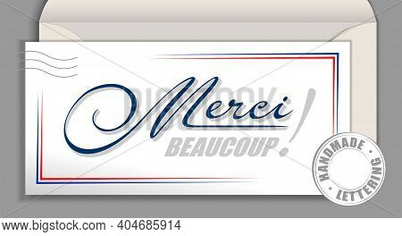 Handwritten French Language Lettering Merci Beaucoup - Thank You Very Much. France Vector Calligraph