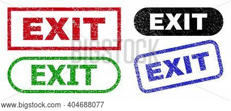 Exit Grunge Watermarks. Flat Vector Distress Seals With Exit Phrase Inside Different Rectangle And R
