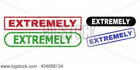 Extremely Grunge Stamps. Flat Vector Grunge Watermarks With Extremely Caption Inside Different Recta