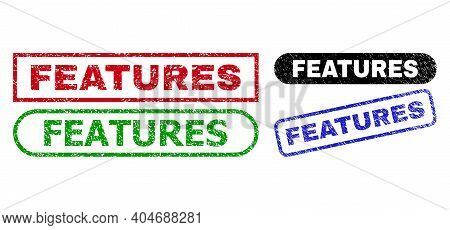 Features Grunge Seals. Flat Vector Grunge Seals With Features Caption Inside Different Rectangle And