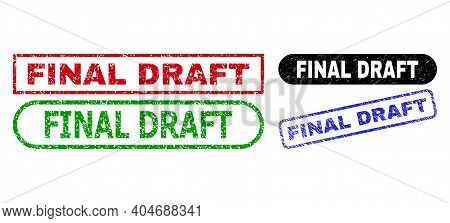 Final Draft Grunge Stamps. Flat Vector Grunge Seal Stamps With Final Draft Tag Inside Different Rect