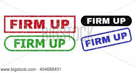 Firm Up Grunge Watermarks. Flat Vector Grunge Seal Stamps With Firm Up Tag Inside Different Rectangl