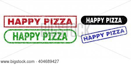 Happy Pizza Grunge Stamps. Flat Vector Grunge Stamps With Happy Pizza Title Inside Different Rectang