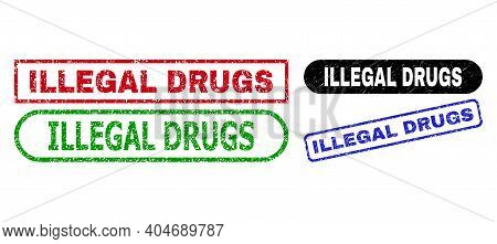 Illegal Drugs Grunge Seal Stamps. Flat Vector Scratched Stamps With Illegal Drugs Message Inside Dif