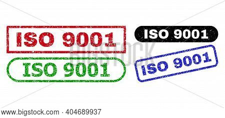 Iso 9001 Grunge Watermarks. Flat Vector Grunge Watermarks With Iso 9001 Message Inside Different Rec