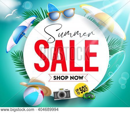 Summer Sale Vector Banner Template. Summer Sale Shop Now Text For Tropical Season Discount Promo Up