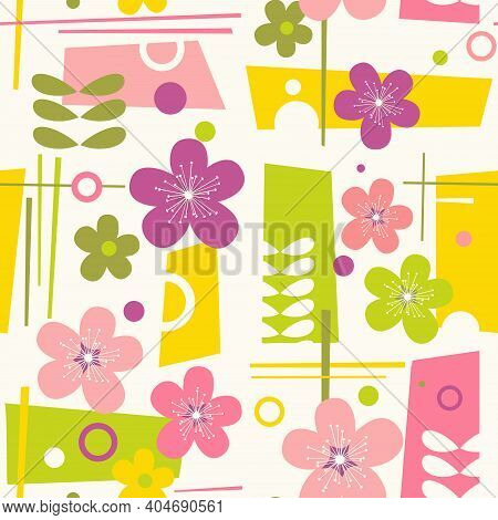 Seamless Mid Century Modern Spring Pattern With Flowers And Geometric Shapes Retro Color Design For