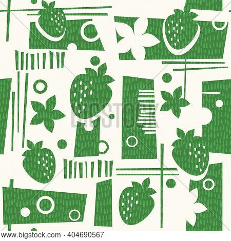 Seamless Mid Century Modern Summer Pattern With Strawberries And Geometric Shapes. Cheerful Retro De