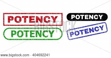 Potency Grunge Seal Stamps. Flat Vector Textured Seal Stamps With Potency Tag Inside Different Recta