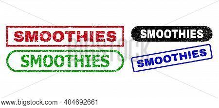 Smoothies Grunge Watermarks. Flat Vector Grunge Watermarks With Smoothies Phrase Inside Different Re