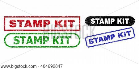 Stamp Kit Grunge Seal Stamps. Flat Vector Grunge Stamps With Stamp Kit Message Inside Different Rect