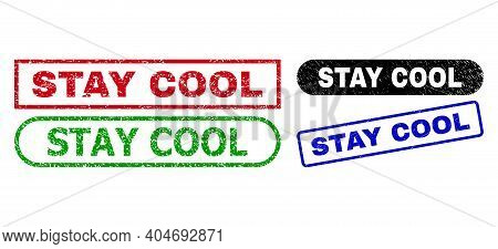 Stay Cool Grunge Seal Stamps. Flat Vector Distress Seal Stamps With Stay Cool Slogan Inside Differen