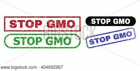 Stop Gmo Grunge Seal Stamps. Flat Vector Scratched Seal Stamps With Stop Gmo Phrase Inside Different
